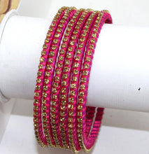Load image into Gallery viewer, Indian Glass Bangles Set - stone with Thread Designed Bollywood Traditional Beautiful Bangle Set of 6 for Women Girl Wedding Favour