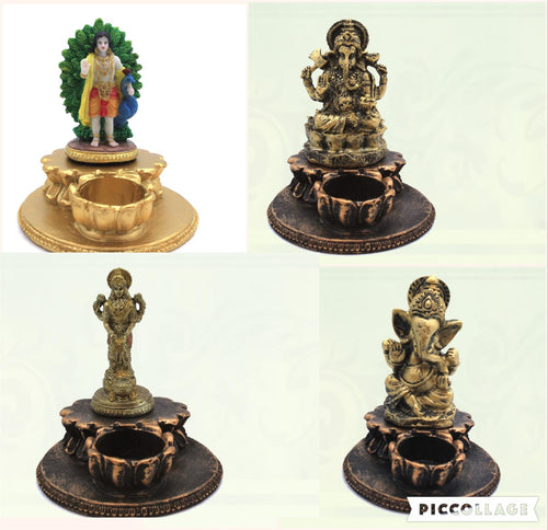 Hindu God with Diya Idol Statue Small Murti For Home Temple Gift Item