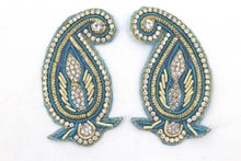 Load image into Gallery viewer, Patches - Thread Embroidery Handmade Zari Work With Cut Work Decorative Patches For Blouse, Saree, Kurtis, Dress, Chaniyacholi & Craft Decoration, Pack of 2 Pcs - 7 x 4 cm