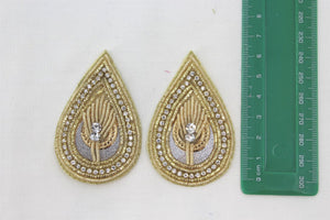 Patches - Thread Embroidery Handmade Zari Work With Cut Work Decorative Patches For Blouse, Saree, Kurtis, Dress, Chaniyacholi & Craft Decoration, Pack of 2 Pcs - 6.5x4 cm