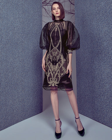 Embroidered Puffed Sleeves Dress