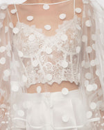 Lace Corset Paired With Dotted Tulle Top And Piqué Shorts