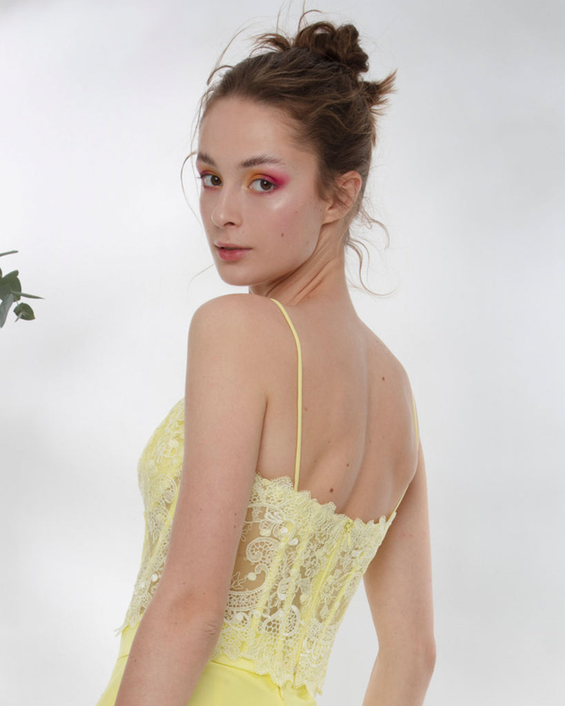 Yellow Lace Corset