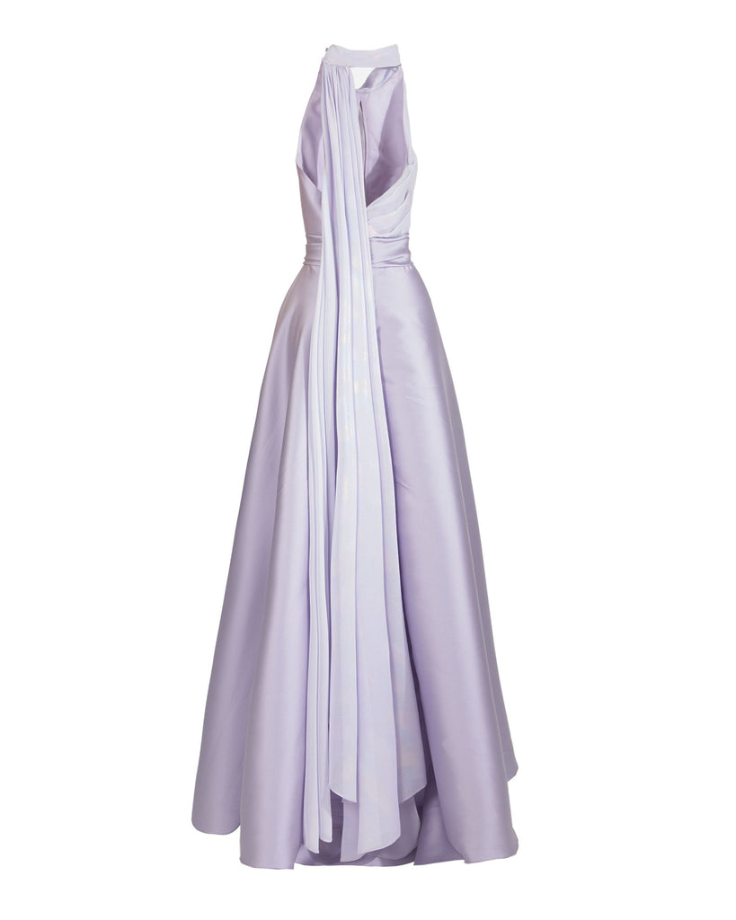 Bi-Fabric Asymmetrical Long Dress