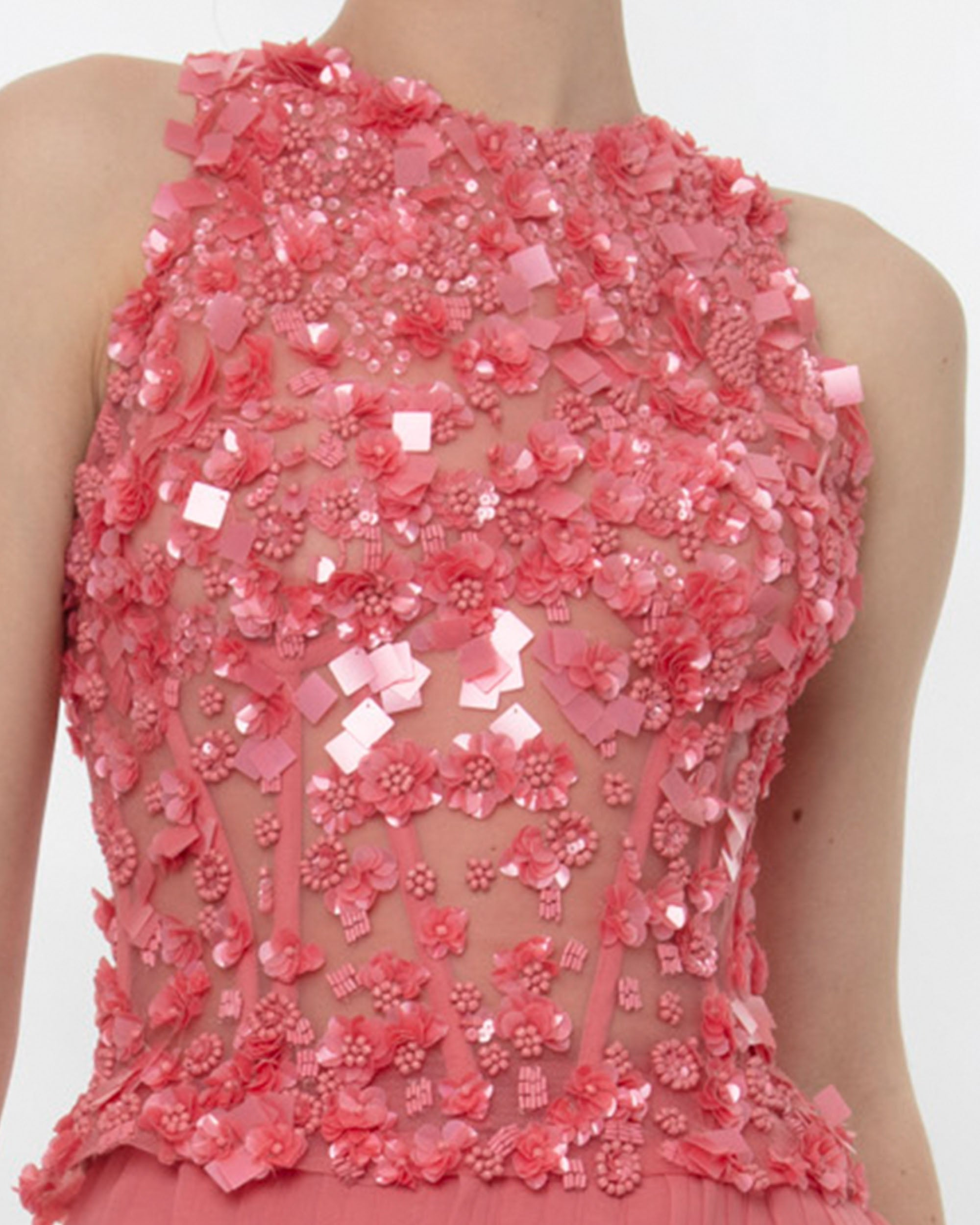 Fully Embellished Corset Paired With Laser-Cut Skirt