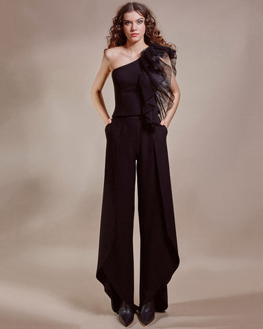 Pleated Detail Top With Draped Side Pants