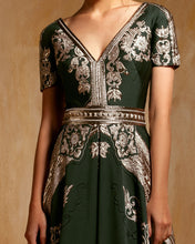 V-Neckline Jacquard Embroidered Dress