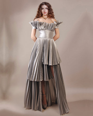 Pleated Satin Long Dress