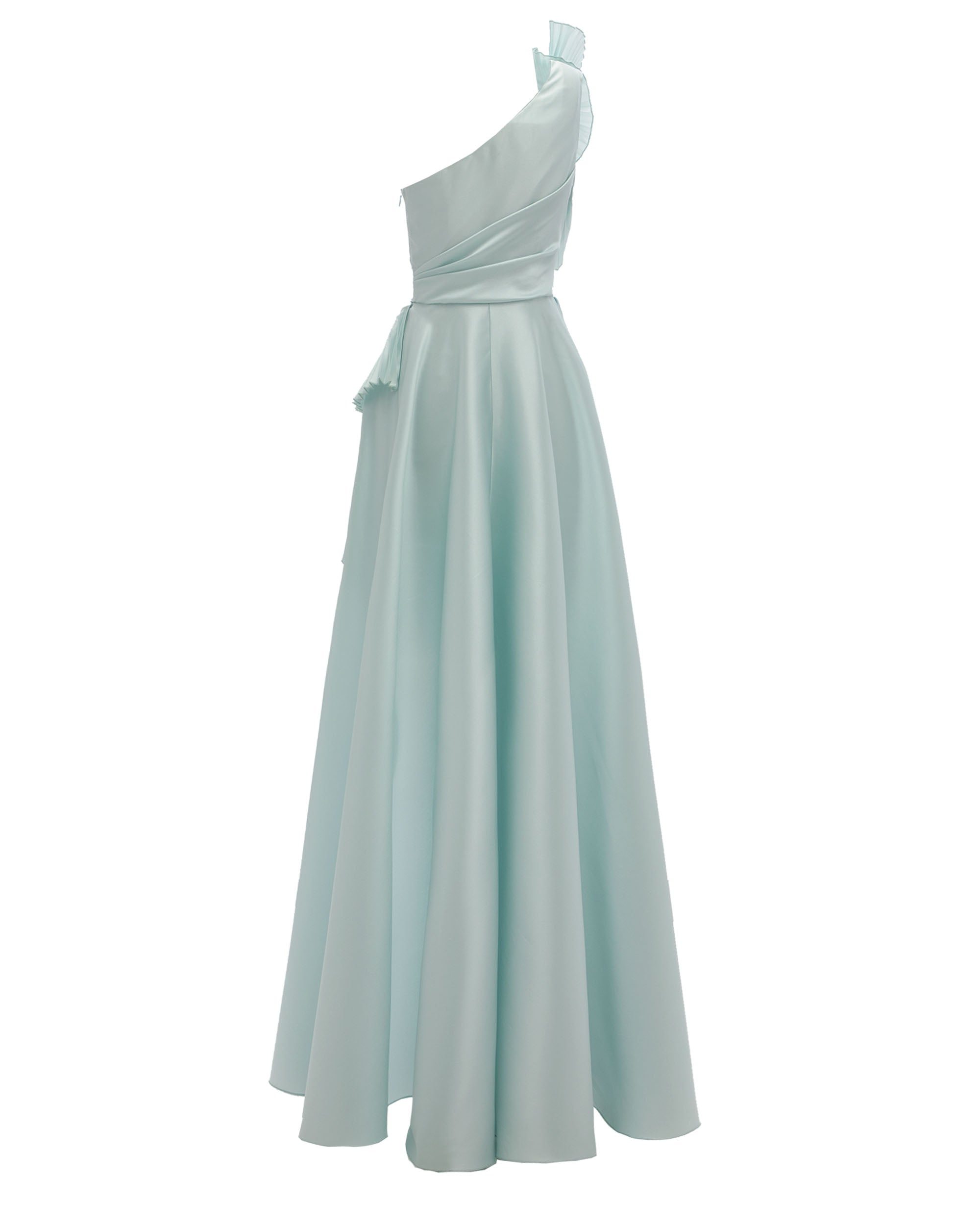 Voluminous Shoulder Long Dress