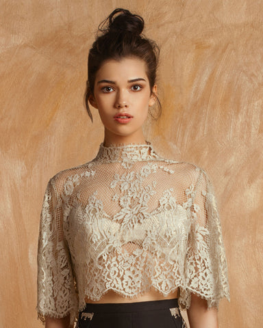 High-Neckline See-Through Lace Top