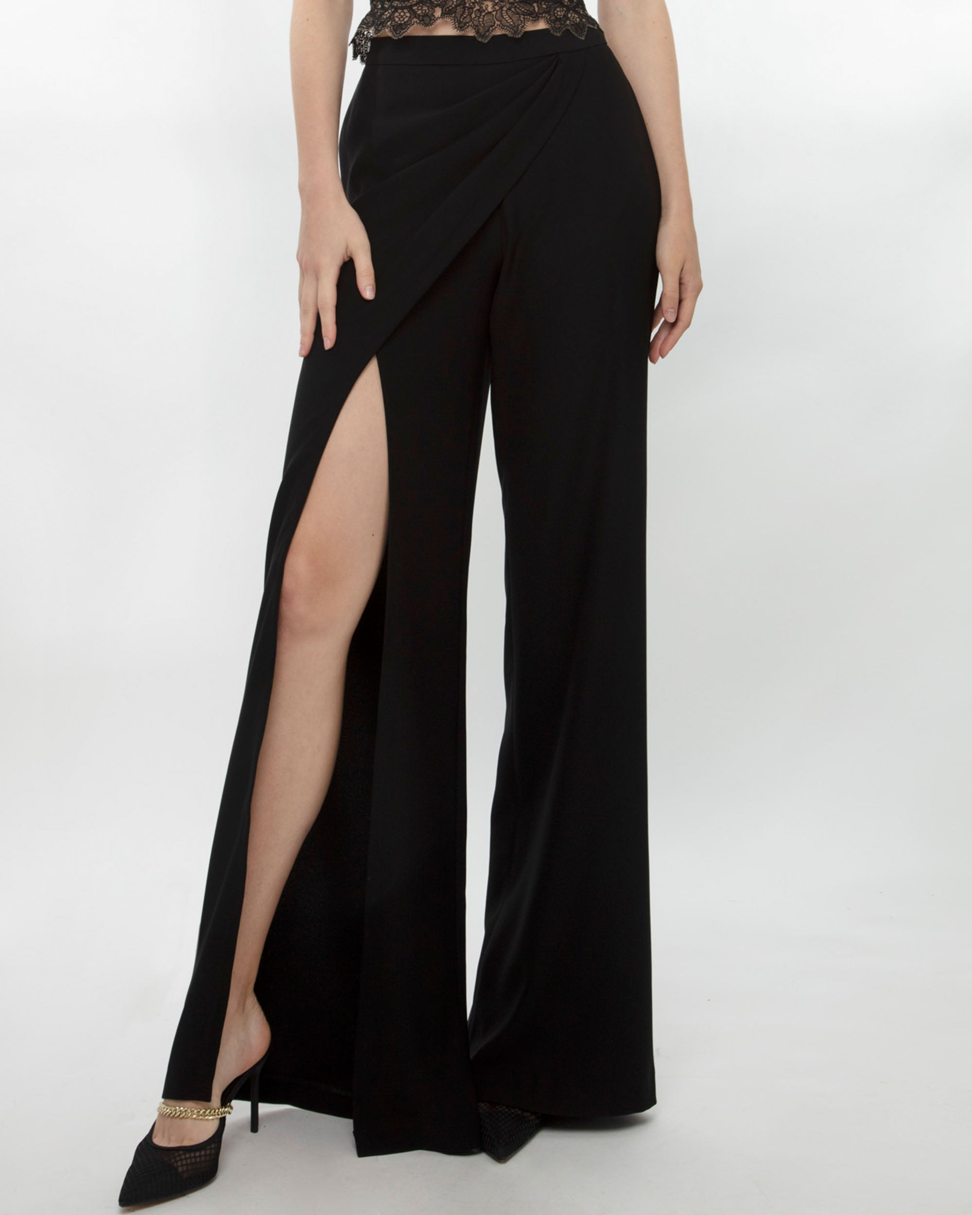 Flared Pants With Front Slit