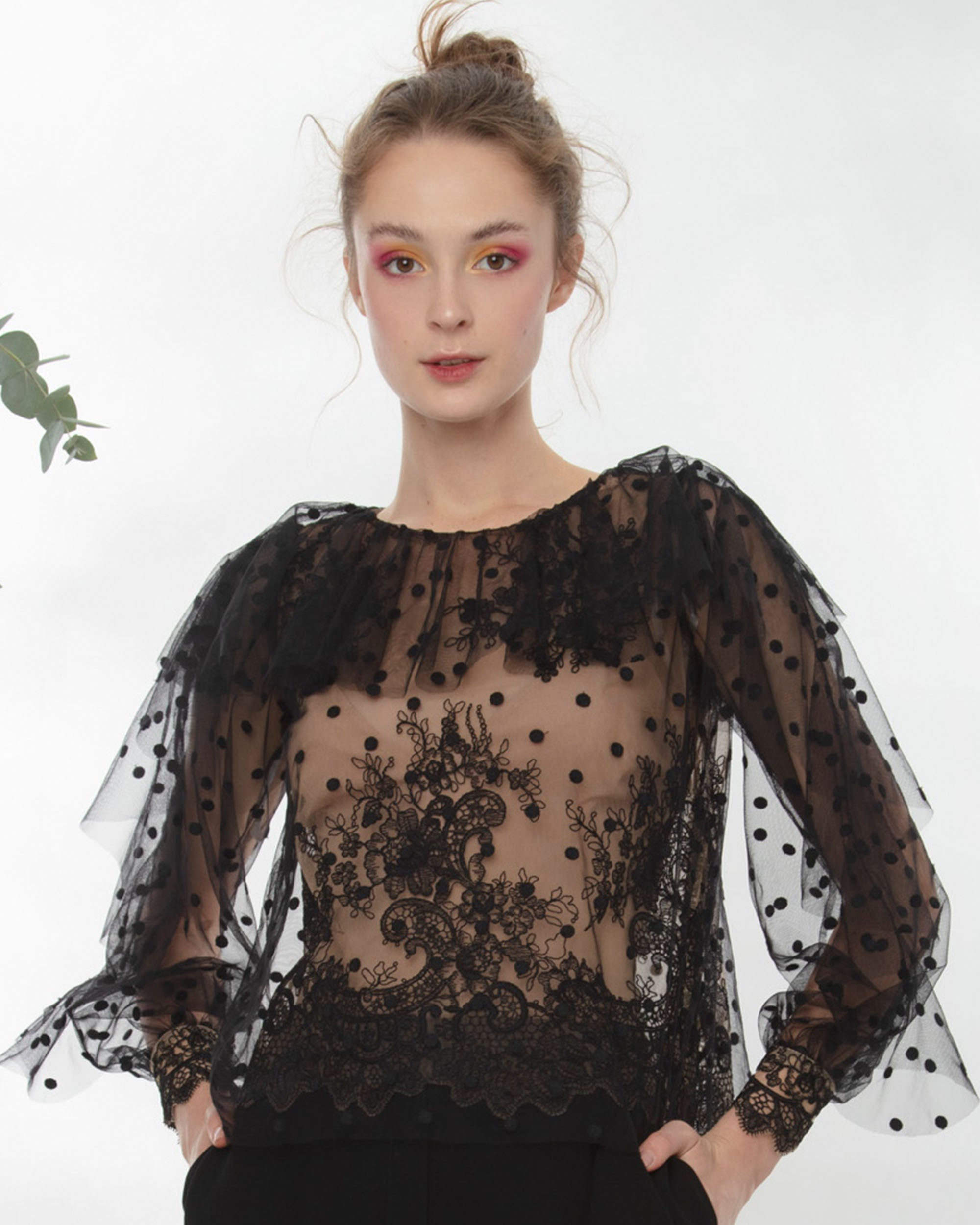 Lace Top With Ruffles