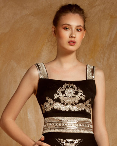 Embroidered Jacquard Top