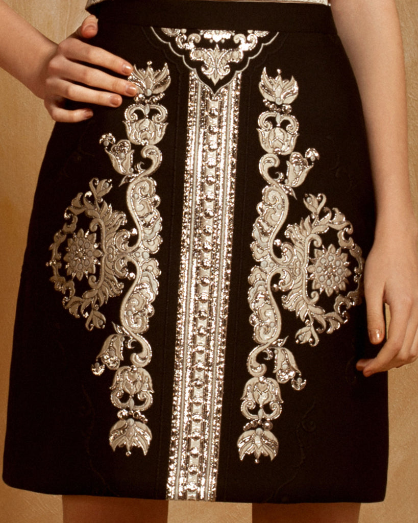 Embroidered Jacquard Skirt