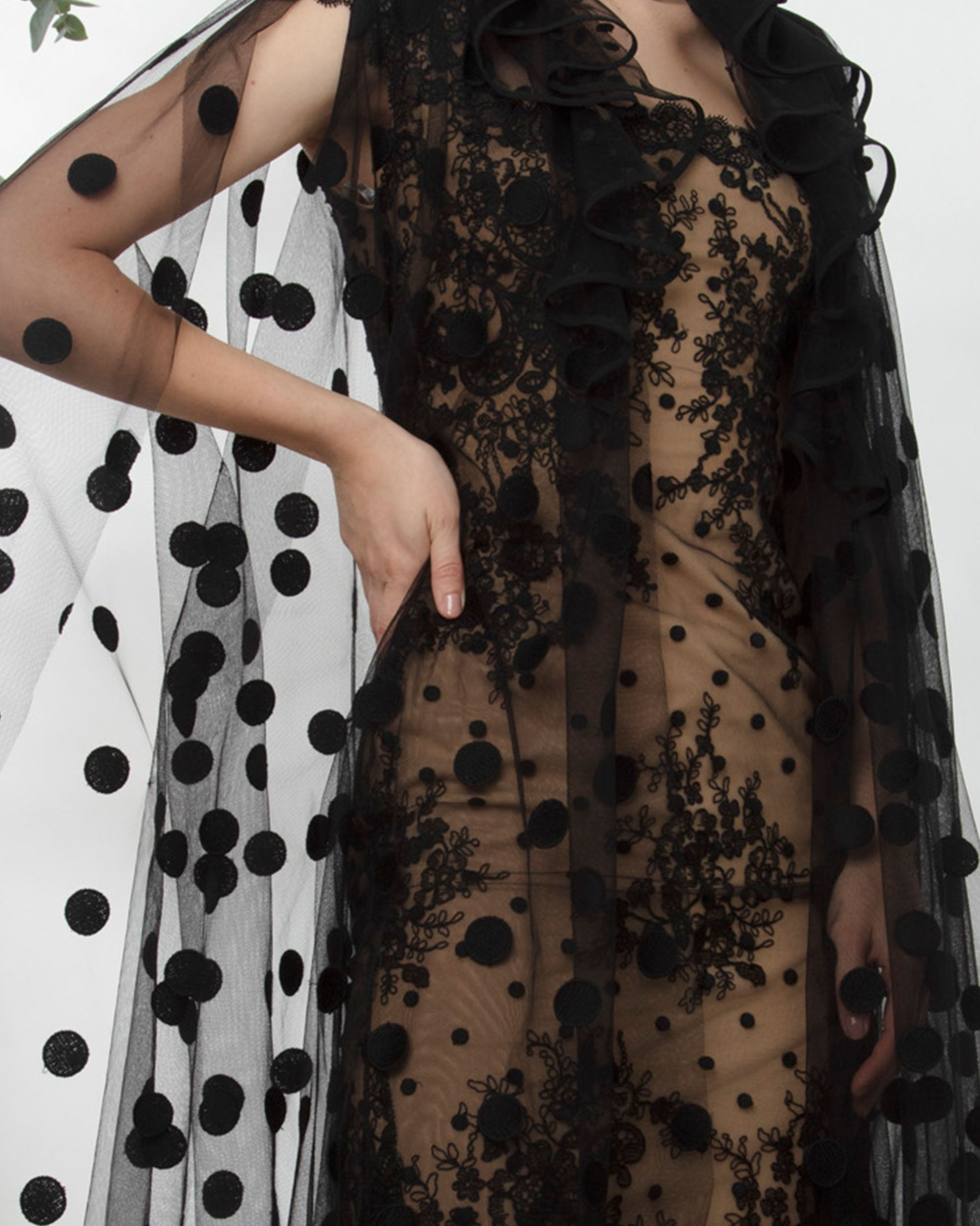 Short Dress Paired With Dotted Tulle Cape