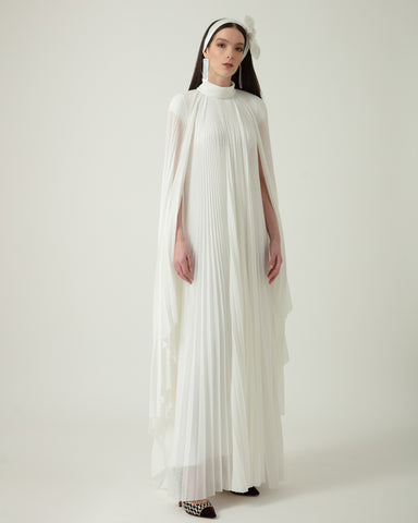 Pleated Straight-Cut Long Dress
