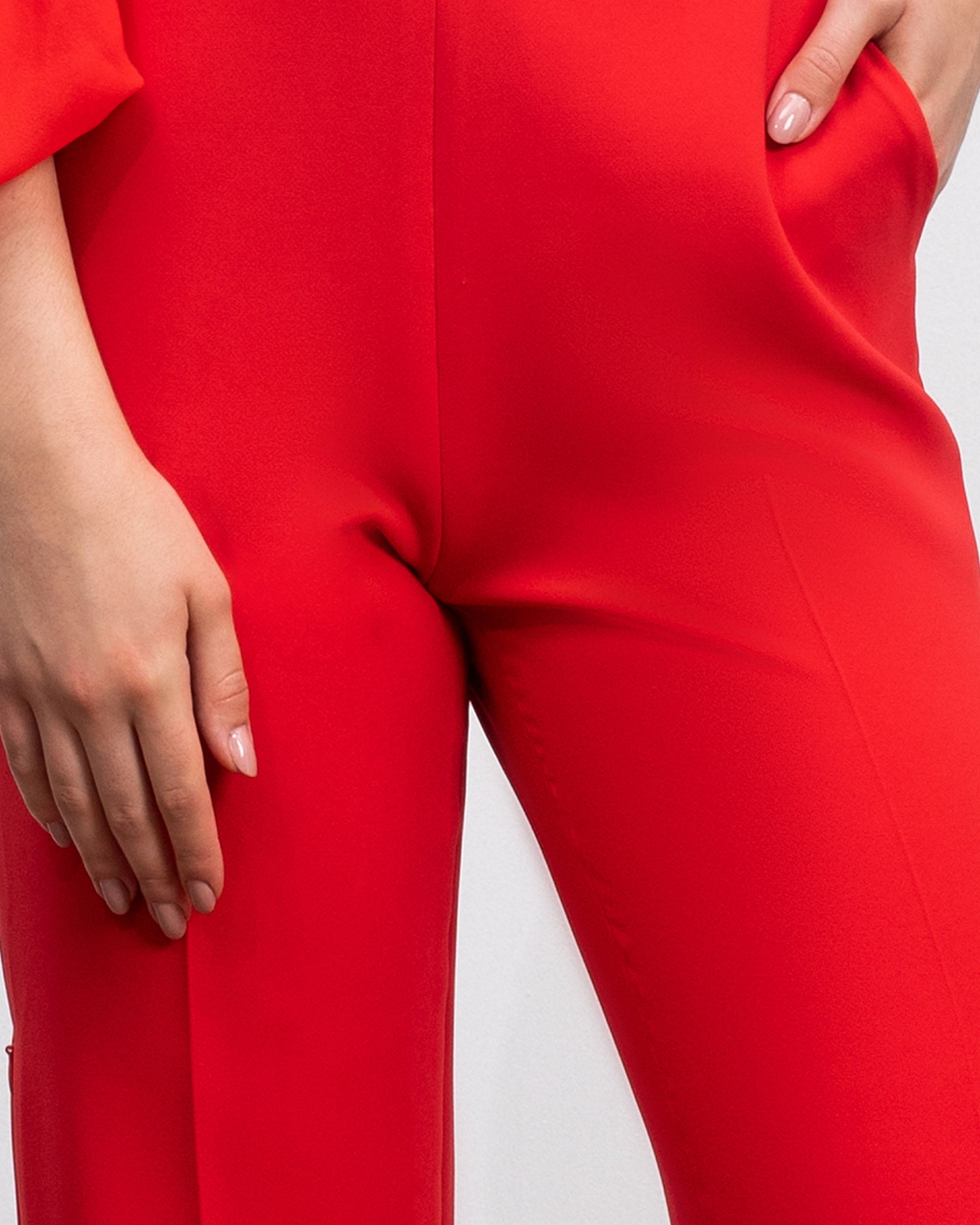 Straight-Cut Crepe Pants