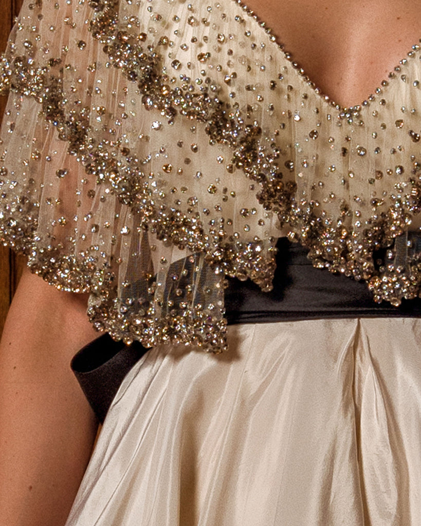 Embellished Ruffled Bodice Dress