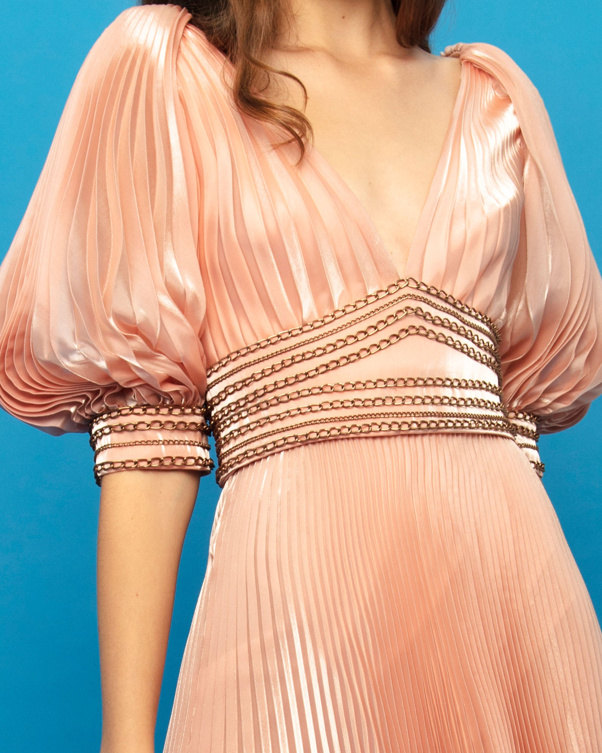 Pleated Bishop Sleeves Dress