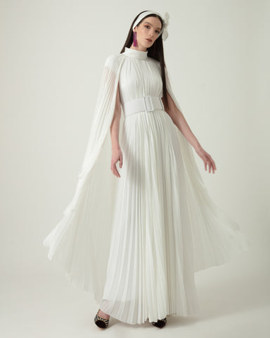 Pleated Straight-Cut Long Dress With Detachable Belt