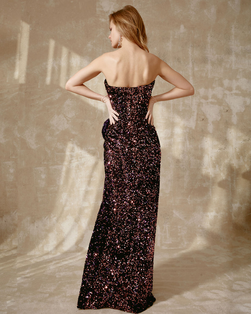Strapless Velvet Paillette Dress