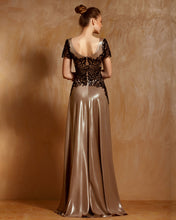 Embroidered Bodice Long Dress