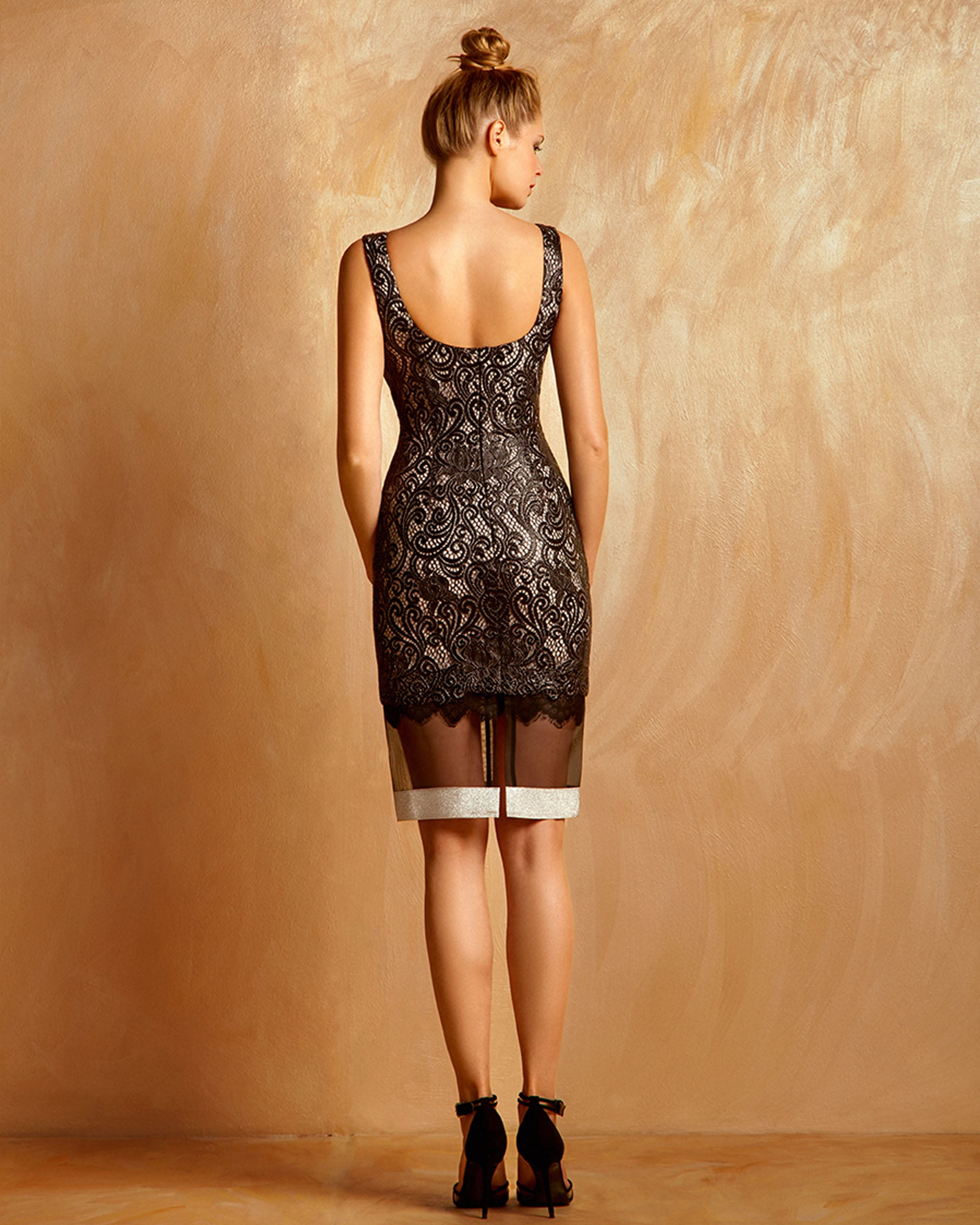 Metallic Guipure Dress With White Bands