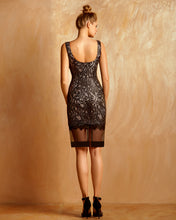 Metallic Guipure Dress With Black Bands
