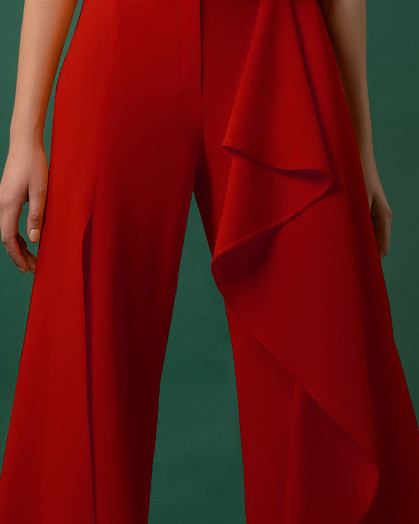 Flared Draped Red Crepe Pants