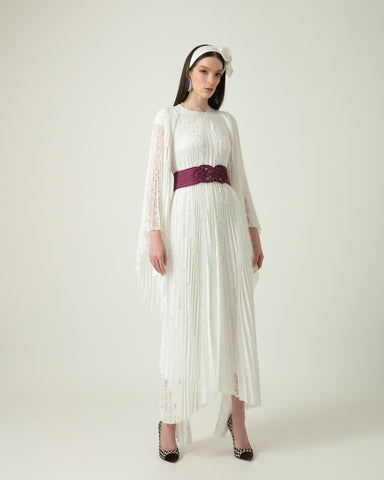 Pleated Lace Dress With Detachable Belt