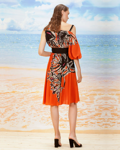 One-Shoulder Printed Dress