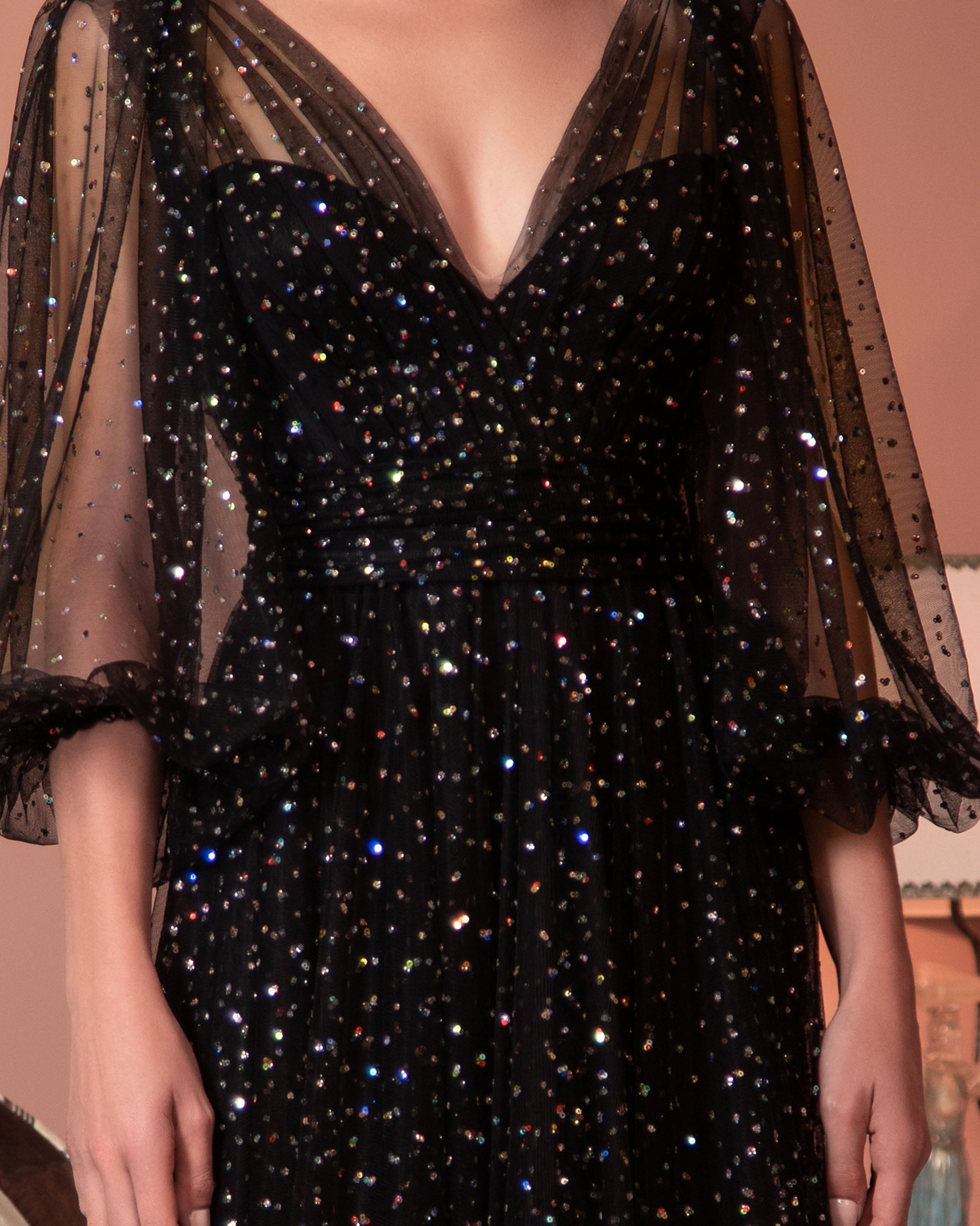Sequined Puffy Tulle Dress