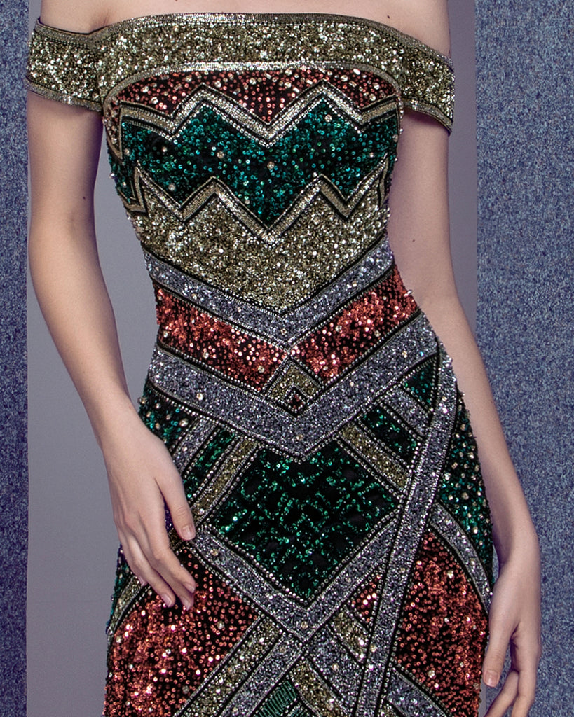 Beaded Fitted Dress