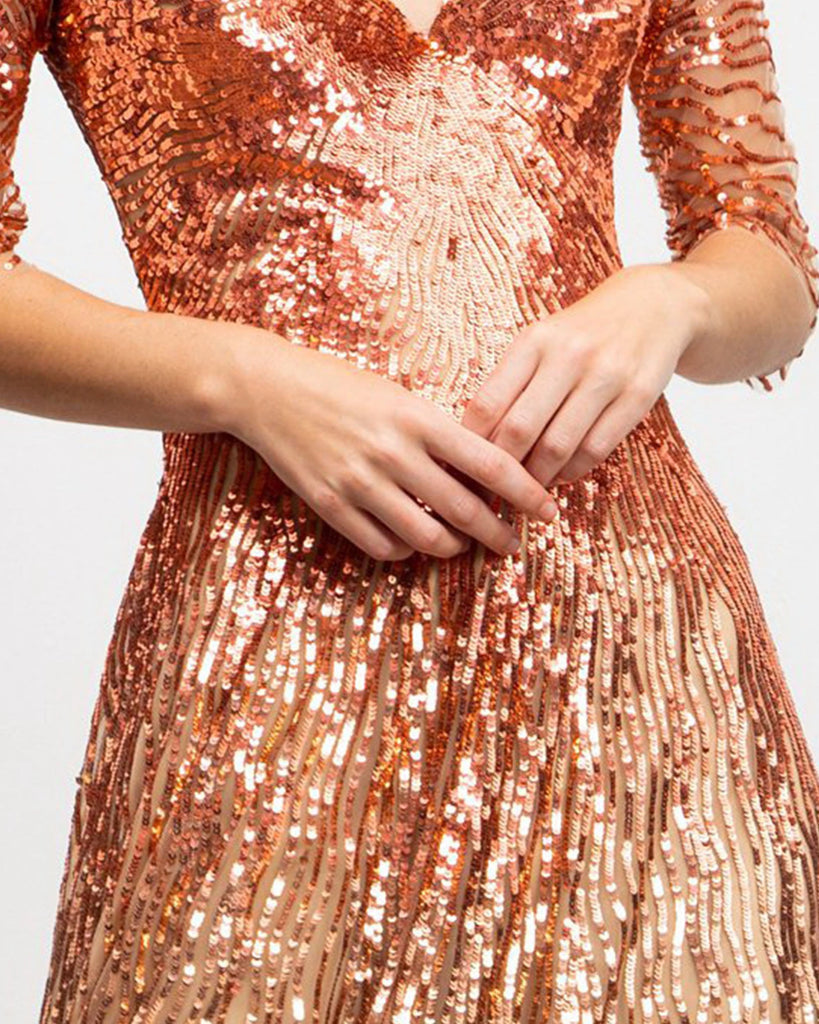 Fully Sequined Flared Cut Dress