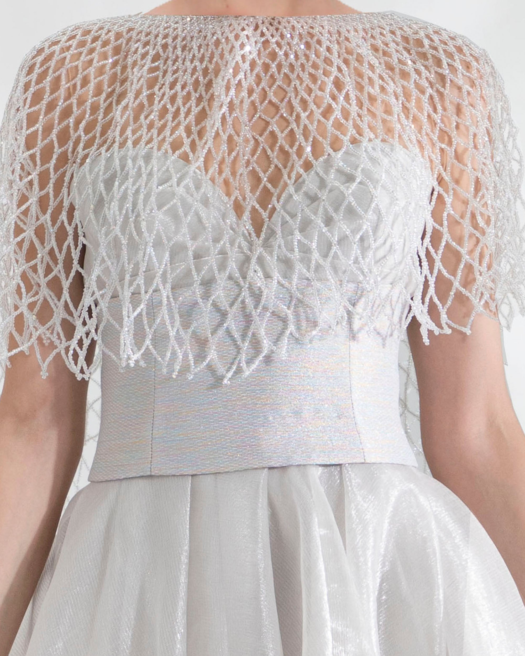 Beaded Fishnet Upper Part Dress