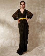 V-Neckline Long Dress With Belt