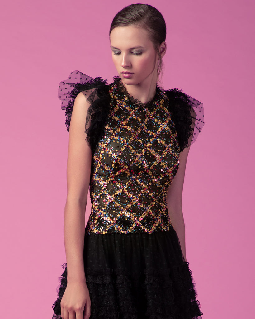 Ruffled Sequined Top