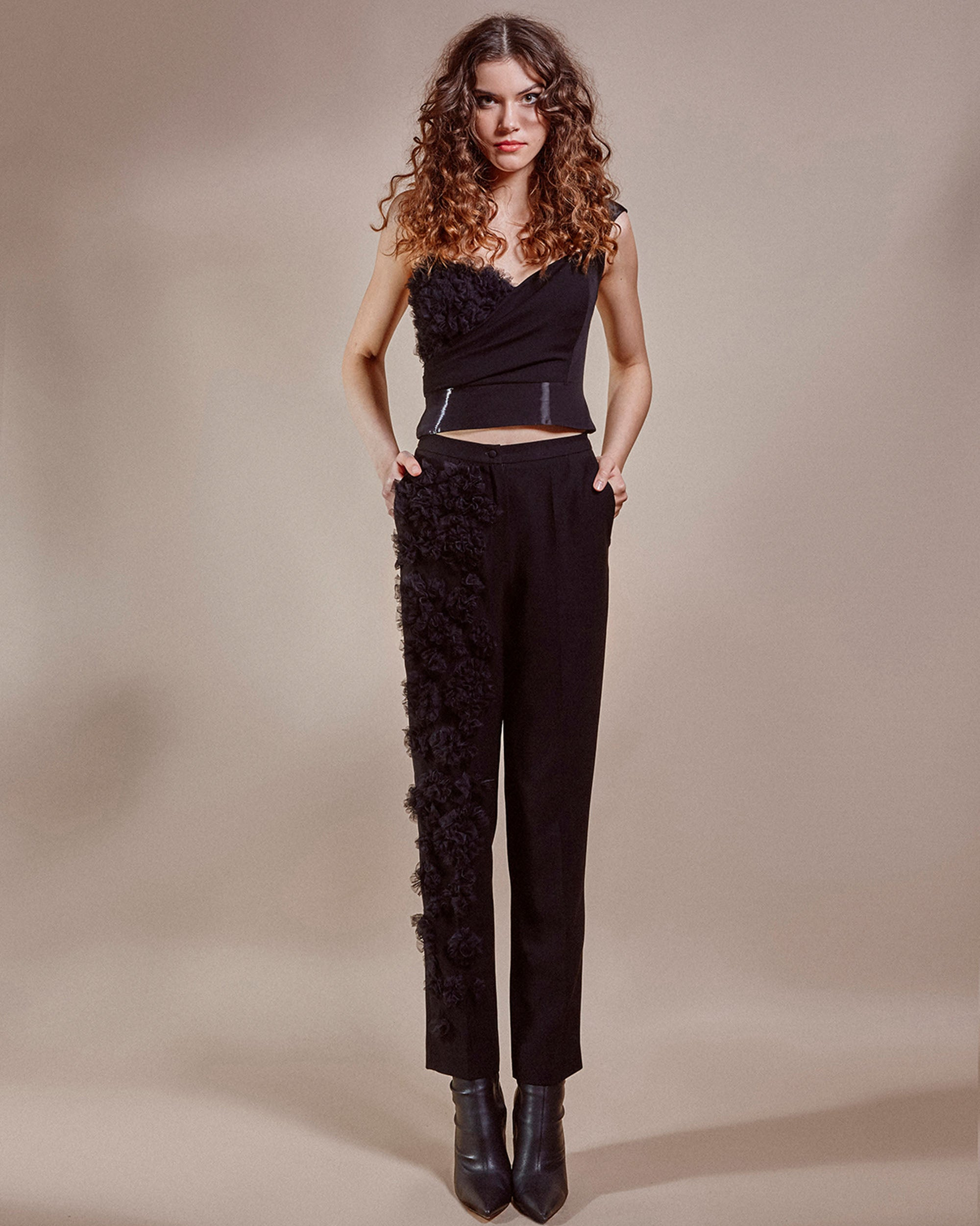 Ruffled Detail Pants