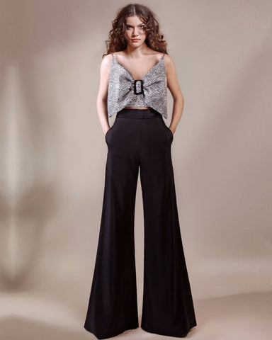Bow-Like Top With Flared Pants