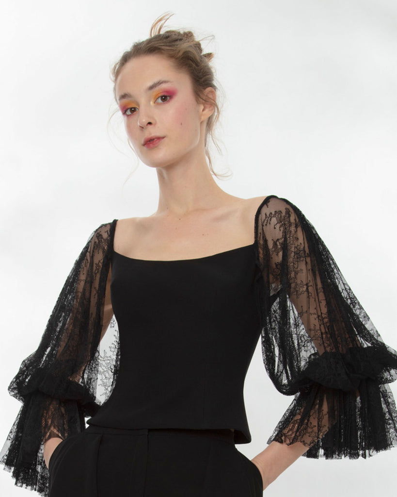 Crepe Top With Lace Sleeves Paired With Ruffled Crepe Pants