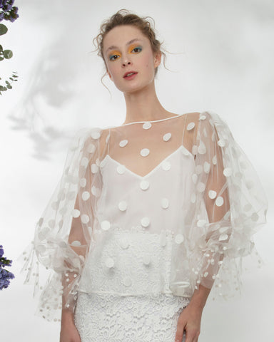 See-Through Dotted Tulle Top