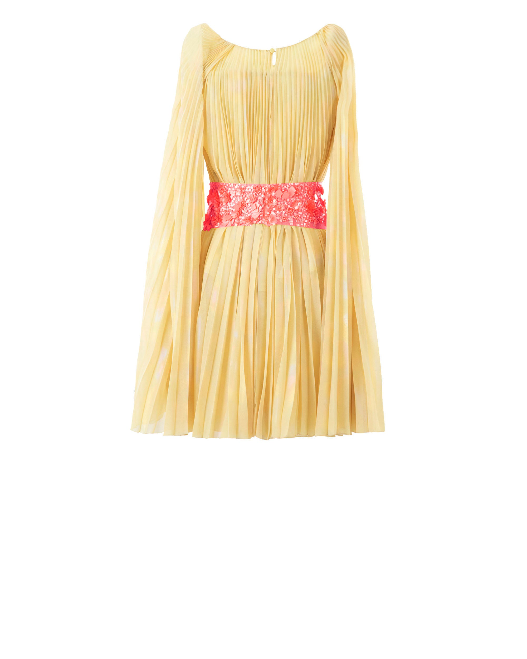 Pleated Mousseline Short Dress With Detachable Belt