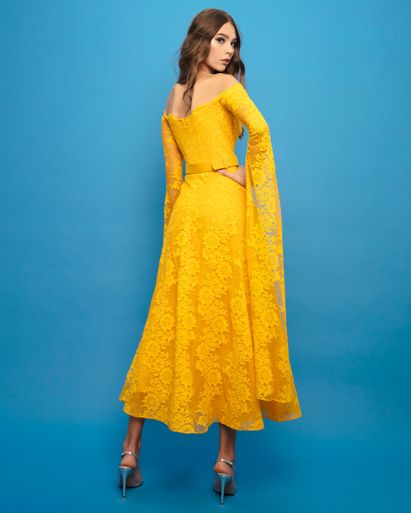 Midi Dress With Exaggerated Sleeves