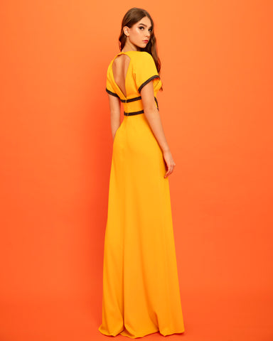 V-Neckline Straight Cut Long Dress
