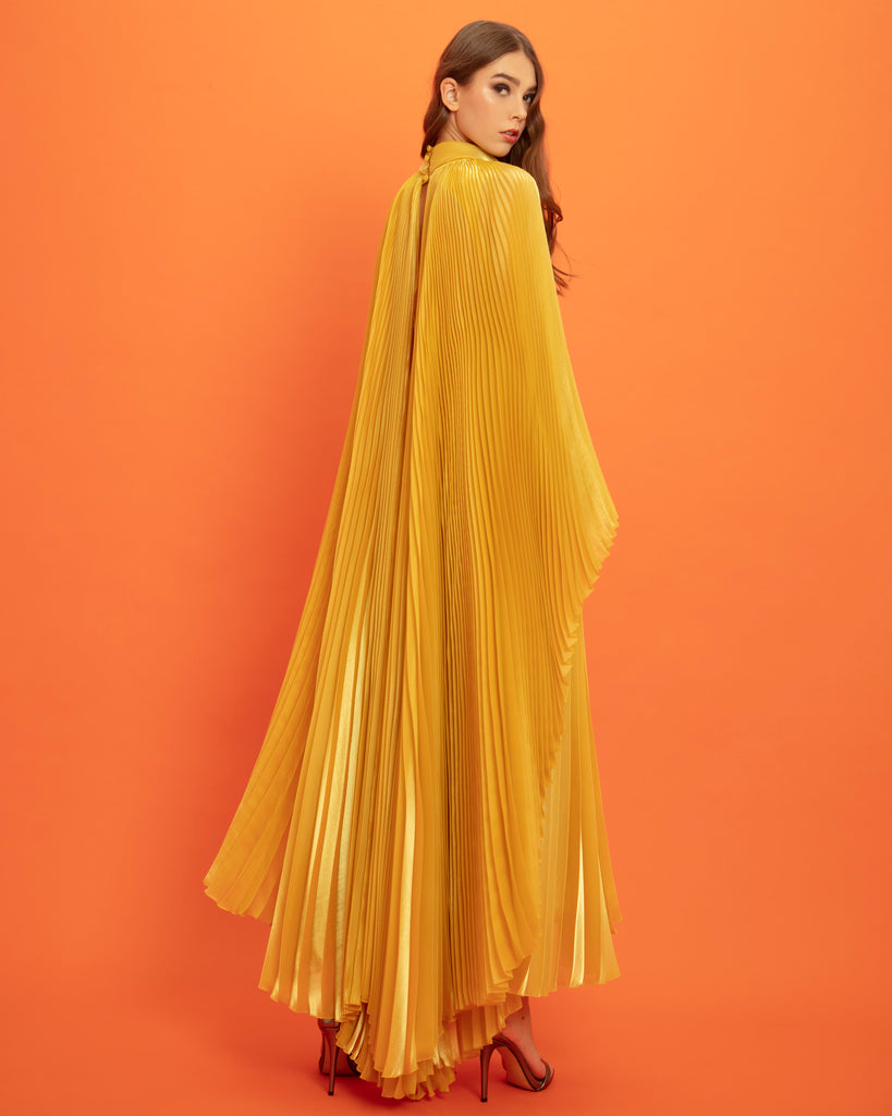 Pleated Cape-Like Dress With Detachable Belt