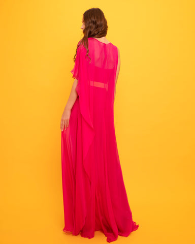 One-Shoulder Mousseline Long Dress