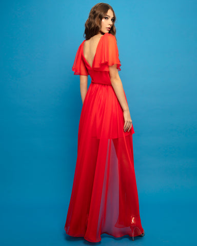 High-Low Asymmetrical Crepe Dress