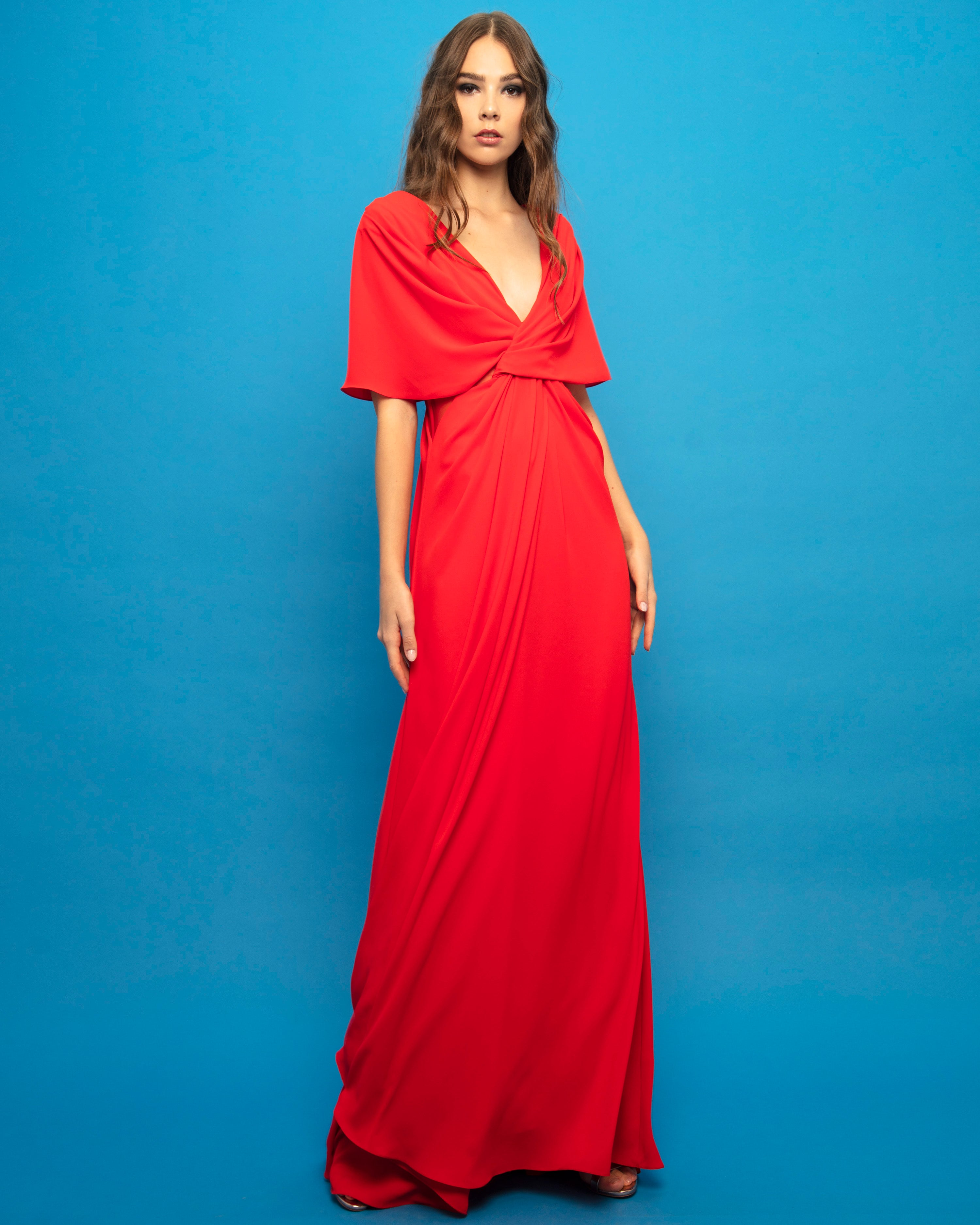 Overlapped Bodice Long Dress