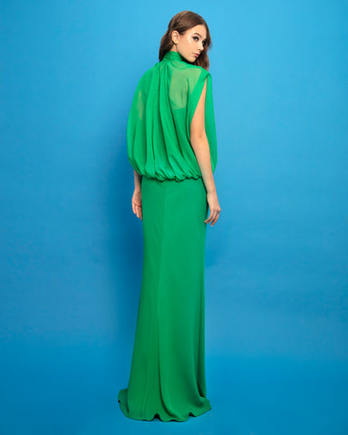 Long Dress With Bow Ribbon Neckline