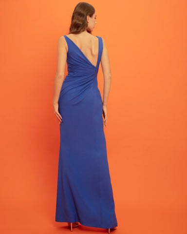 Draped Slim-Cut Dress